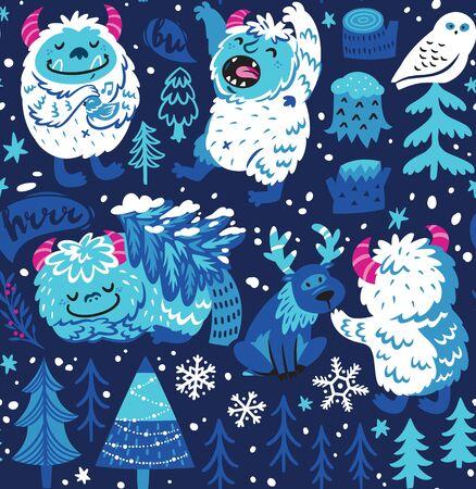 Seamless pattern with white cartoon Bigfoots or Yetis lives in the snowy forest. Vector illustration Vektoros illusztráció
