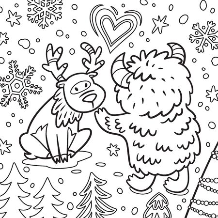 Cute Bigfoot or Yeti with deer in the forest. Contour illustration Illustration