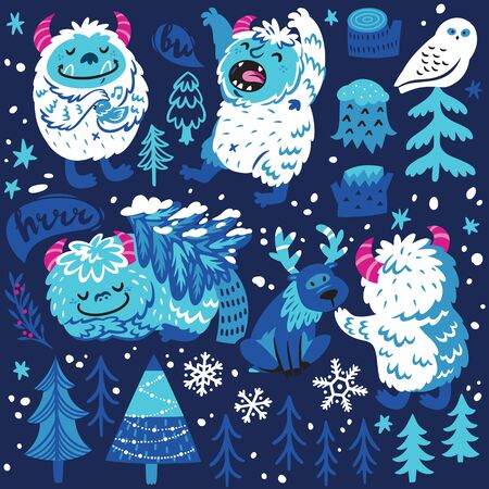 Cute cartoon style yetis and woodland elements. Vector set