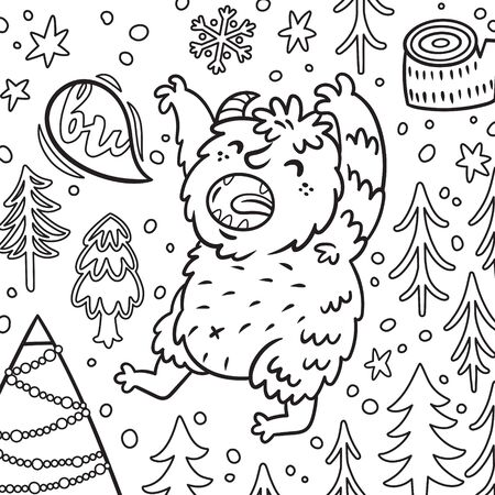 Cartoon Bigfoot or Yeti growls in the forest. Contour illustration