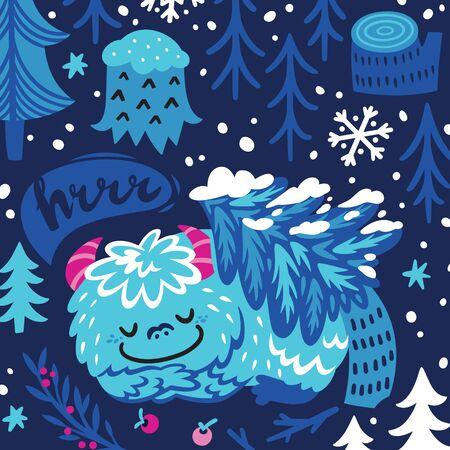 Cartoon bigfoot or yeti sleeping in the forest under the tree. Fantasy vector art