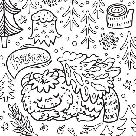 Cartoon Bigfoot or Yeti sleeping in the forest under the tree. Contour illustration