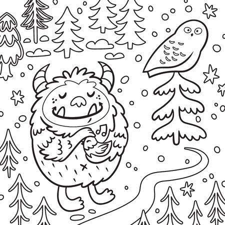 Cartoon fluffy bigfoot or yeti loves the birds. Contour illustration Illustration
