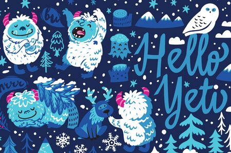 Hello Yeti. Winter banner with cute cartoon yetis and woodland elements. Vector fantasy art