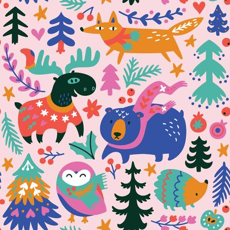 Winter seamless pattern with cozy animals and decorative elements in vector.