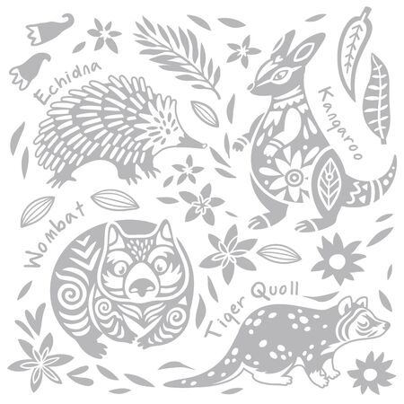Set with decorated Australian animals. Echidna, Wombat, Kangaroo and tiger quoll