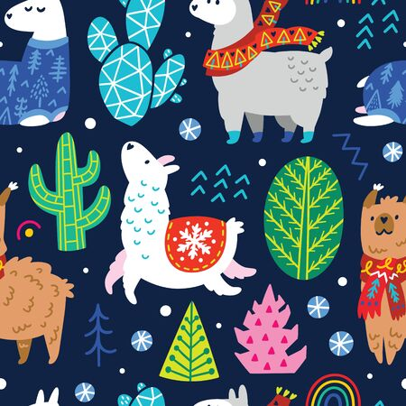 Seamless winter pattern with cute llamas or alpacas in scarves among trees and cacti