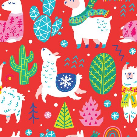 Seamless winter pattern with cute llamas or alpacas in scarves and sweater among decorative trees and cacti