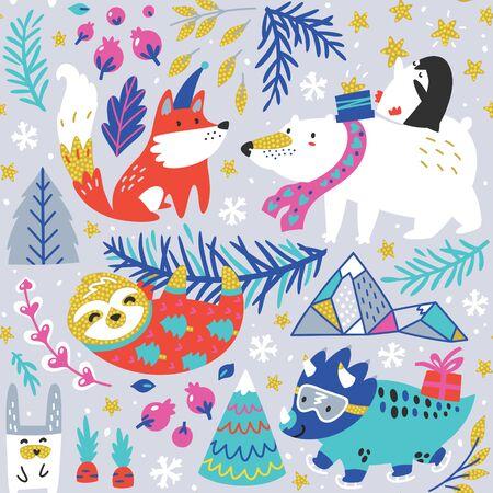 Cute polar bear with penguin, fox, sloth and dinosaur in cartoon style. Winter mood. Seamless whimsical pattern