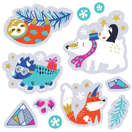Sticker set of Christmas stickers with cute animals and decorative elements