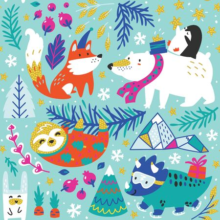 Seamless pattern of whimsical polar bear, penguin, fox, sloth, dinosaur and other decorative elements