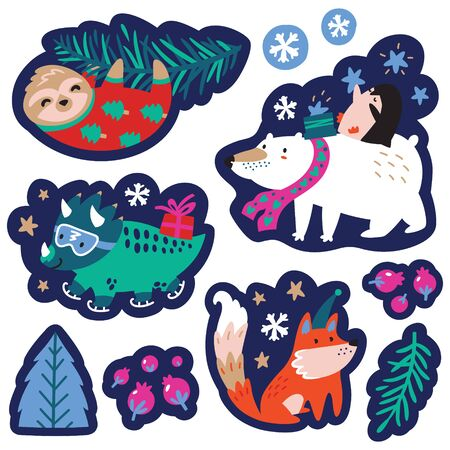Christmas set with cute animals. Labels, emblems and other decorative elements. 向量圖像