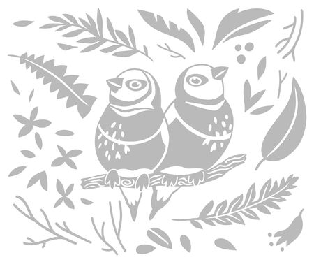 Decorative Australian Rainbow Lori, leaves and branches in grey color. Vector illustration