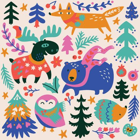 Woodland whimsical print with cozy animals and decorative elements. Vector illustration