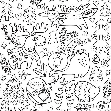 Winter seamless pattern with cozy animals and decorative elements in outline 向量圖像