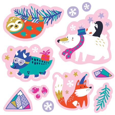 Set of cartoon Christmas animals. Patches, emblems, badges and labels