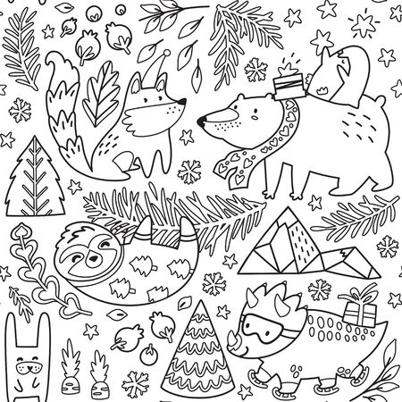 Whimsical winter animals seamless pattern. Cute polar bear, penguin, fox, sloth, dinosaur and other. Vector illustration