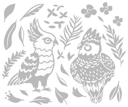 Decorative Australian birds - Cockatoo and Galah in monochrome