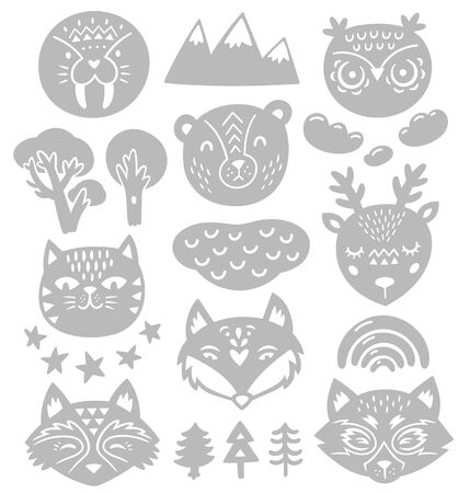 Collection of nature elements and animals heads in monochrome