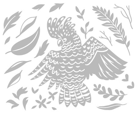 decorative Australian Cockatoo bird in monochrome 向量圖像
