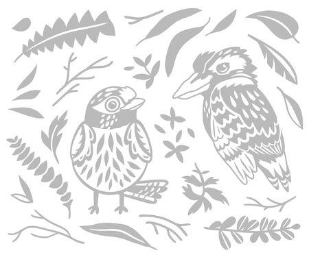 decorative Australian birds - Scarlet Robin and Kookaburra in monochrome 向量圖像