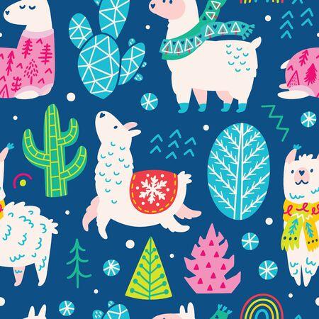 Seamless Christmas pattern with cute cartoon llamas or alpacas in scarves