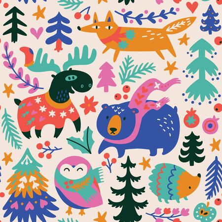 Woodland whimsical animals seamless pattern