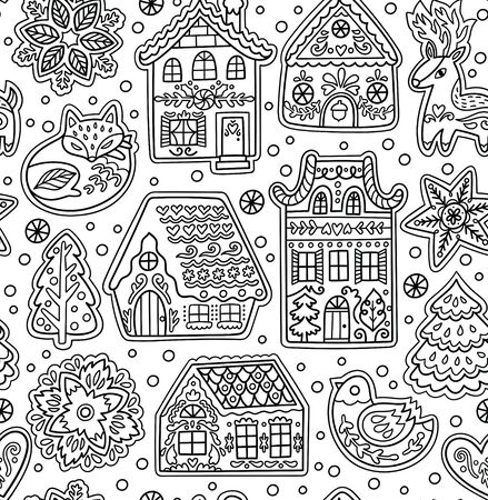 Ink gingerbread houses seamless pattern 向量圖像