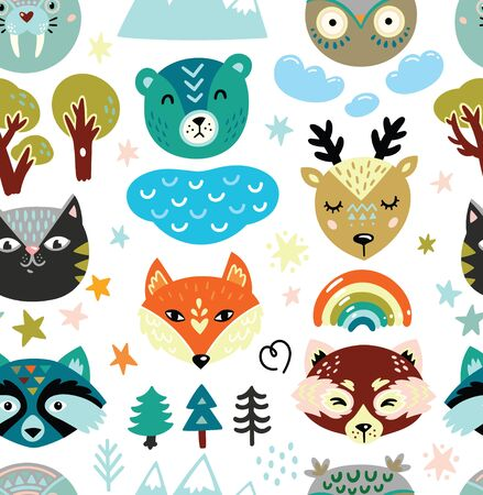 Cartoon animals heads and nature elements seamless pattern