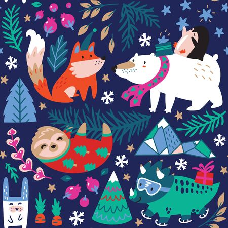 Seamless pattern of whimsical forest with winter animals.