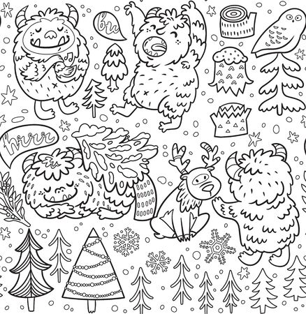 Seamless pattern with cartoon Bigfoots and winter woodland elements in contour