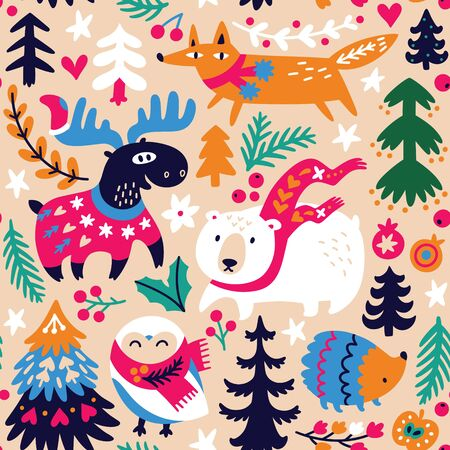 Woodland seamless pattern with cozy animals and decorative elements 向量圖像