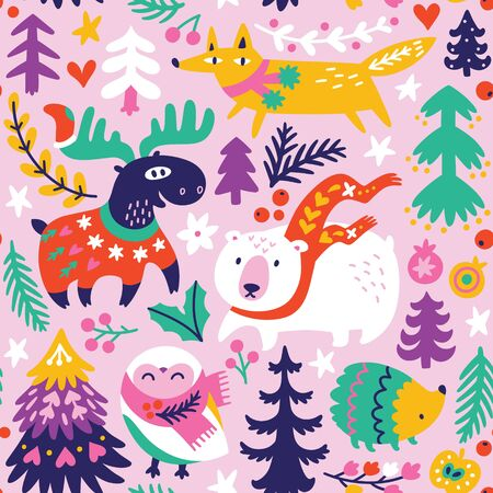 Winter seamless pattern with cartoon animals in scarves