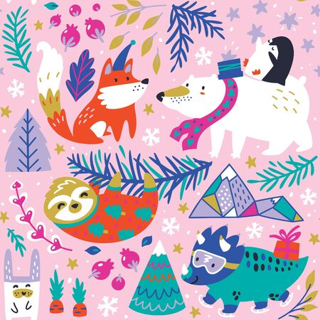 Whimsical forest with winter animals seamless pattern. 向量圖像