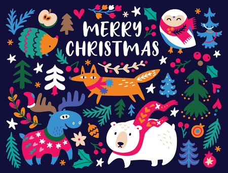 Christmas card design template with cozy animals and bright decorative elements.