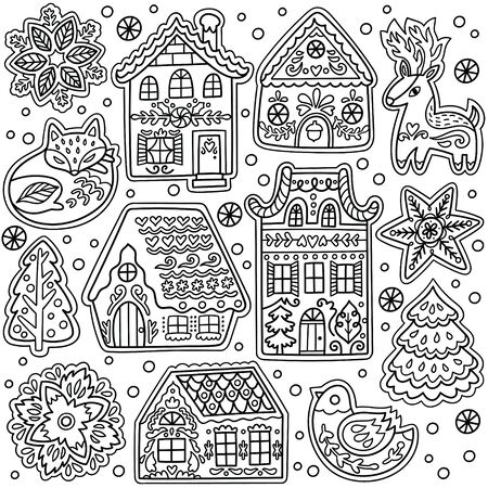 Ink gingerbread cookies houses collection 向量圖像