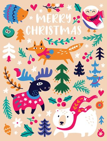Merry christmas, winter greeting card. Cozy winter animals and trees illustration, cute design for nursery, poster
