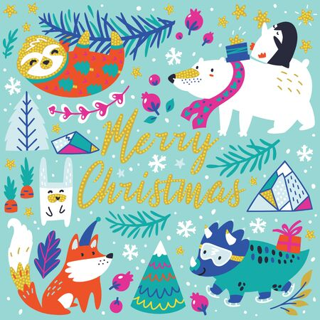 Merry Christmas greeting card with cute funny animals in vector. Sloth, polar bear and penguin, dinosaur, fox and other 向量圖像