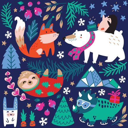 Whimsical winter animal set of polar bear with penguin, fox, sloth and dinosaur