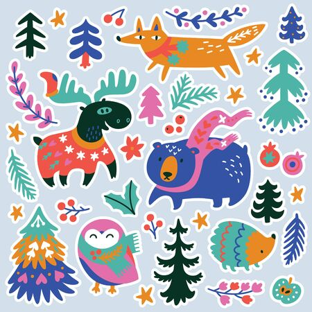 Vector winter time sticker collection with cartoon animals and woodland objects in vector