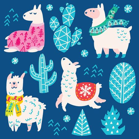 Collection of Christmas llamas in scarves and sweater, decorative cactuses and trees. Vector illustration