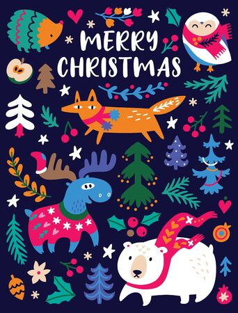 Merry christmas, winter greeting card in night colors. Cozy winter animals and trees illustration, cute design for nursery, poster