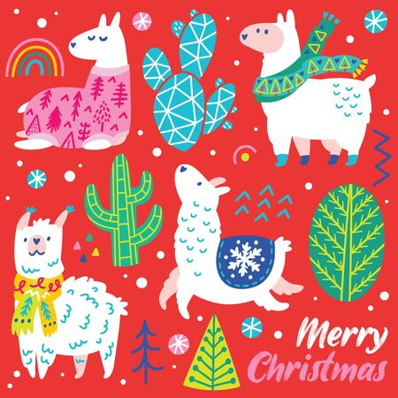 Christmas animals set with llamas, alpacas, trees and cactuses in decorative simple style. Vector illustration