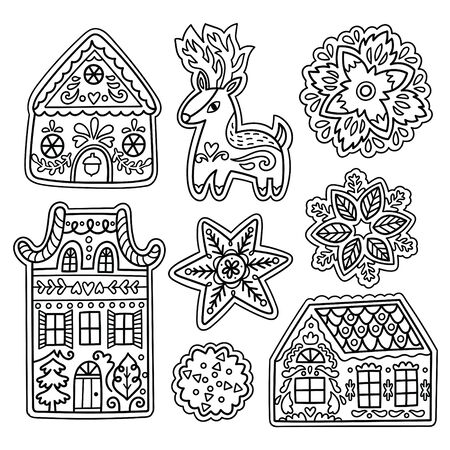 Fantasy gingerbread deer, snowflakes and houses in outline. Vector
