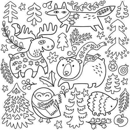 Doodle winter set with cozy animals and decorative elements. Vector illustration for colouring