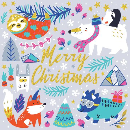 Merry Christmas. Winter greeting card with cute animals character. Vector illustration