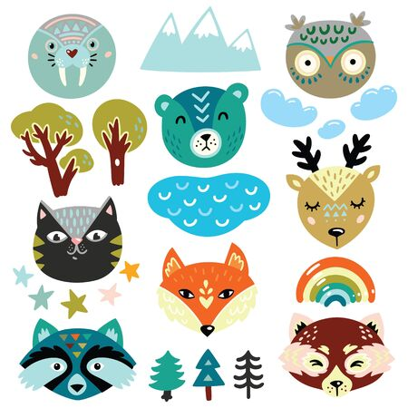Set of nature elements and animals heads in cute cartoon style. Vector illustration 向量圖像