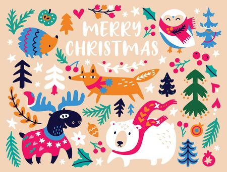 Christmas card design template with cozy animals and bright decorative elements. Vector illustration