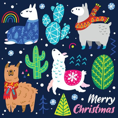Christmas llamas characters in scarves and sweater, decorative cactuses and trees. Vector illustration. 向量圖像