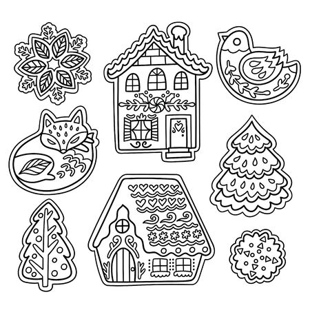 Christmas gingerbread set in outline. Fox, bird, snowflakes and houses cookies in vector 向量圖像
